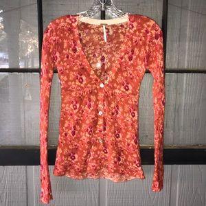 Free People orange and pink floral wool sweater